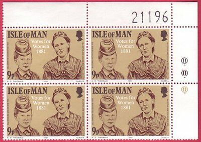 Isle Of Man 1981 Votes For Women ( Suffragettes ) - Corner Block of 4 UM