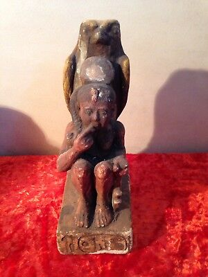 Antique Ancient Egyptian statue of Ramses II protected by Horus as falcon