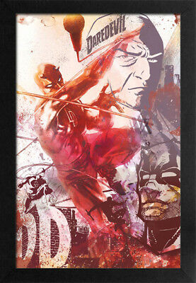 DAREDEVIL COLLAGE 13x19 FRAMED GELCOAT POSTER MOVIES MARVEL COMICS KING PIN NEW!