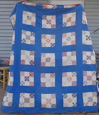 Vintage Farm Quilt  Feed Sack Calicos Country  Primitive Bright Blue