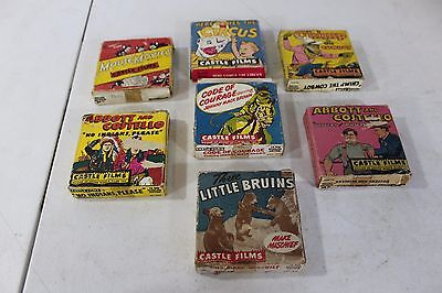 7 Rare Castle Films 16mm With Boxes! Abbott Costello, Code of Courage, 3 Bruins