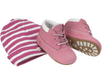 Timberland Baby Infant Booties and Hat Boxed Gift Set Pink