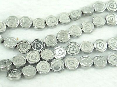 15Pcs Titanium Silver Carved flower Hematite Gemstone loose beads 8mm