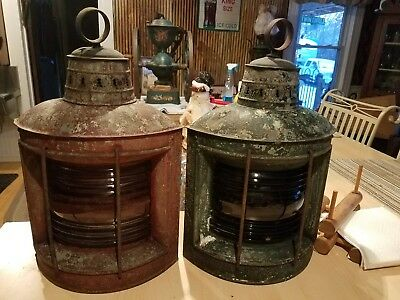 Antique Perko Maritime Port & Starboard Lantern Lamps