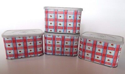 Lot of 4 Collectible INTERNATIONAL COFFEE TINS Susan Branch Scrapbooking Spices