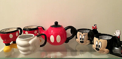 New Disney Mickey Minnie Mouse 3D Half Mug Cup Glove Hand Spoon and Tea Pot