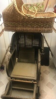 Antique 19thC Victorian Wicker Lot-Baby Buggy Stroller Carriage & Baby Bassinet