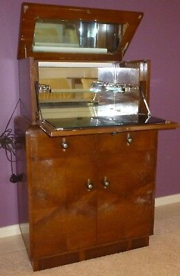 Antique Art Deco Dropfront Drinks Cocktail Cabinet with Mirrored Interior