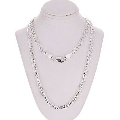 """Sterling Silver Solid Byzantine Link Necklace 22"""" 6mm"""