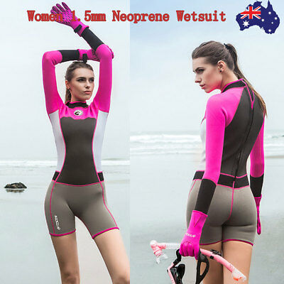 Womens 1.5MM Anti-UV Slim Neoprene Wetsuit Long Sleeve One-Piece Surfing Suit AU