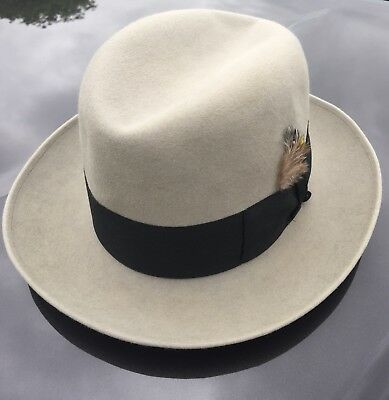 "Beautiful VTG Borsalino Fedora SZ 7 1/8 Beautiful Light Gray ""GENOVA"""