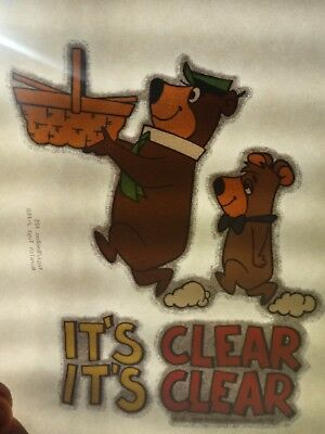 Vintage Yogi Bear & Boo Boo T-Shirt Iron On Decal with Glitter