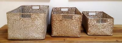 ORGANIC Storage BOXES Set of 3 Natural Cane RATTAN Weave Display HOME Baskets BN