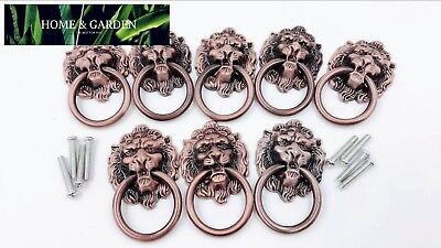 Dresser Drawer Cabinet Door Ring Lion Head Pull Handle Knob 8pcs (A)