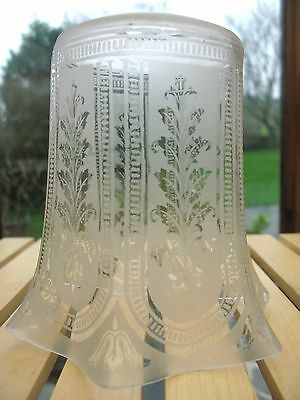 A fluted etched glass Lightshade / Lampshade C1900