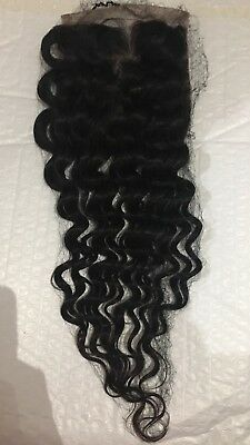 "Afro Kinky Curly Parting Top Closure Human Hair 14"" Natural Black Lace"