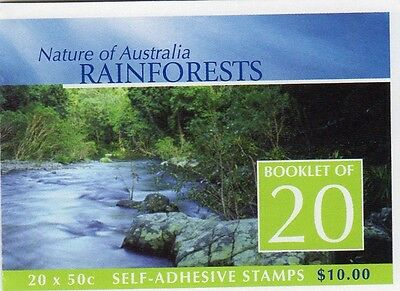 2003 AUSTRALIAN STAMP BOOKLET RAINFORESTS NATURE 20 x 50c STAMPS MUH