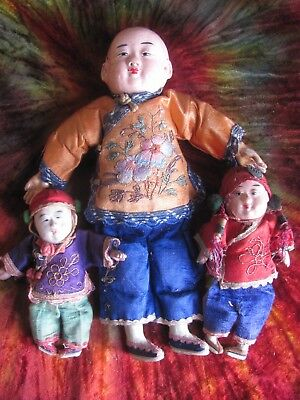 Vintage Antique~Composition Chinese Dolls~Lot of 3~Embroidered Clothing