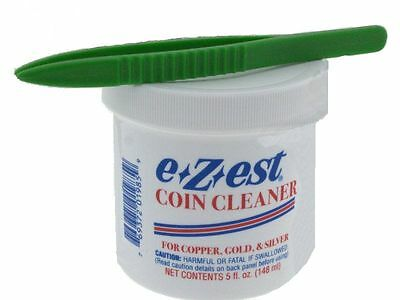 """5oz e-Zest Coin Cleaner for Gold, Silver and Copper with 5"""" Plastic Tweezers"""