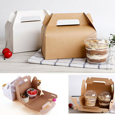 10pcs Paper Gable Lunch Boxes Cake Candy Cupcake Wedding Birthday Party Gift Bag
