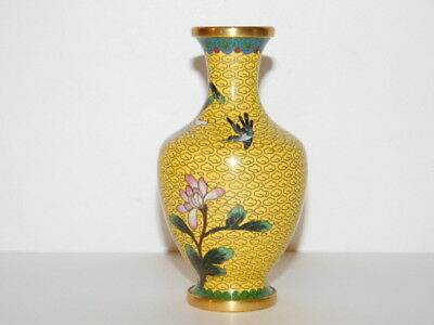 """Yellow Chinese Cloisonne on Brass Vase 5"""" Lotus Floral"""