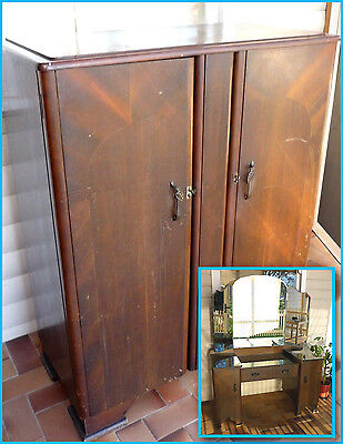 1930's Bedroom Set - Wardrobe & Dressing Table - Vintage Antique Collectable