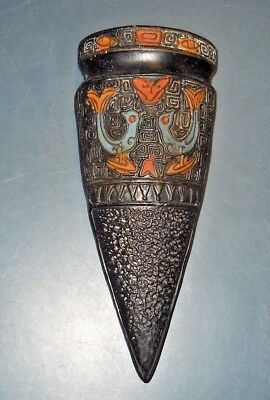 Vintage Black Japan  Wall Pocket Ceramic Pottery Cone Shaped Love Birds Design
