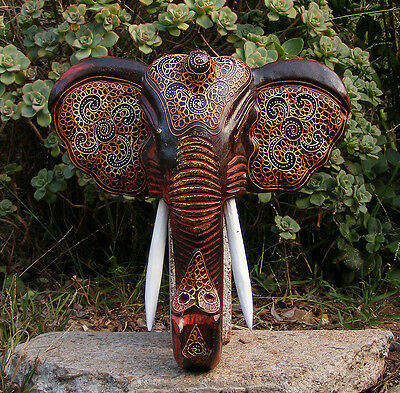 "African Elephant Wood Mask Carving Safari Jungle Home Decor 13"" x 12"""