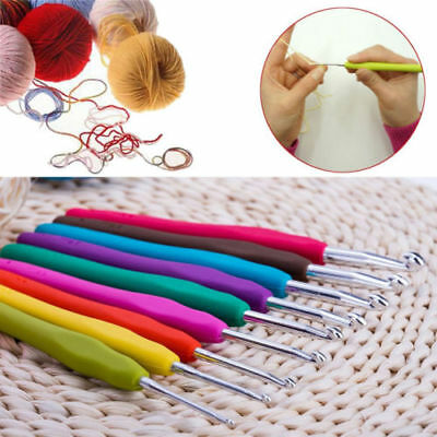 9pcs Ergonomic Grip Sharp Crochet Hook Aluminum Knitting Needles Set Soft Handle