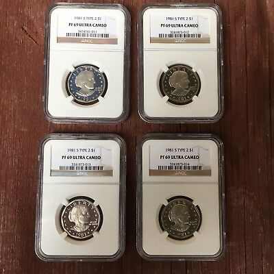 4, yes 4, consecutively graded PF 69 1981-S Type 2 $1 Susan B. Anthony NGC