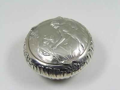 Art Nouveau French Silver Maiden & Orchids Chatelaine Snuff Pill Box by Dropsy