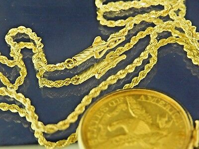 1901-S $5.00 GOLD LIBERTY COIN - 14k BEZEL & 18 INCH 14k ROPE CHAIN 15 GRAMS NR