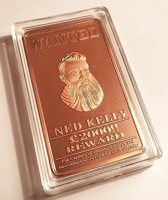 "NED KELLY  ""Wanted"" 1oz 999 Copper Ingot , Bush Ranger, Guns"