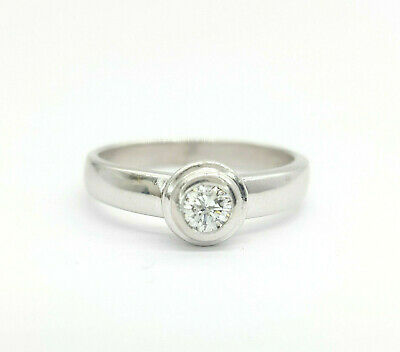 Ladies Ring 18ct (750, 18K) White Gold 0.15ct Natural Diamond Solitaire Ring