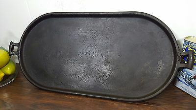 VTG #8 Gate Marked Cast Iron Oval Griddle Cleaned Seasoned USA Cowboy Camping