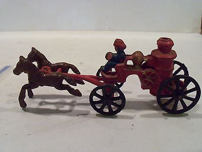 Vintage Antique Toy Cast Iron Horse And Fireman Engine Wagon
