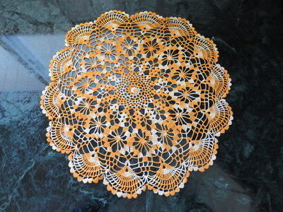 "Vintage Crochet Doily - Variegated Yellow - 14"" In Diameter - Handmade"
