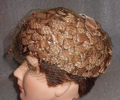 Vintage Lady's Hat made of Brown/Bronze Woven Nylon Straw & Mesh Netting Veil