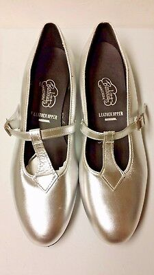 Barbettes womens size 11M SILVER T STRAP  Dance Shoes Clogging Tap jazz square