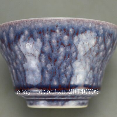 Chinese old hand-carved purple glaze porcelain Kung fu tea cups wine glass