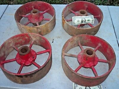 "4 Large 11 1/2"" x 4"" Cast Iron & Steel Industrial Wheels Cart Buggy Machinery"