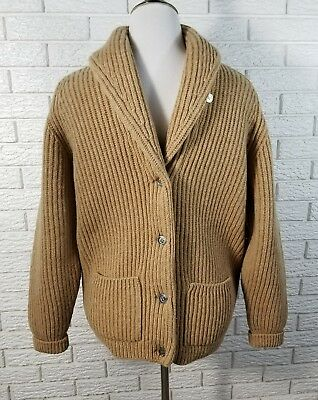 Vtg 60-70 Brooks Brothers Shawl Collar Cardigan Sweater M Tan 100% Wool Scotland