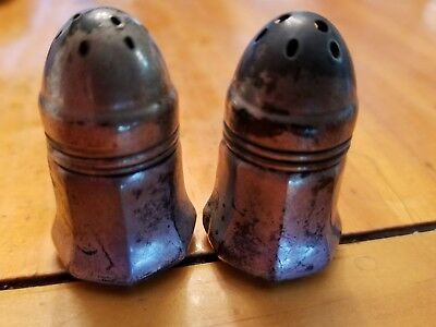 Antique Sterling Silver Salt & Pepper Shakers Owl Holding A W Stamp Pattern 7730
