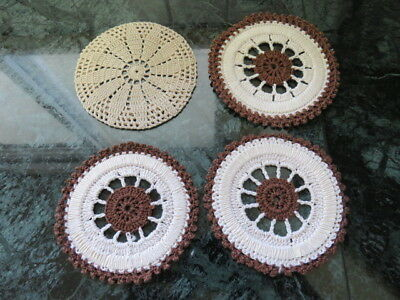 "Lot Of 4 Crochet Doilies -  Cup Coasters - Brown - 3.5"" In Diameter"