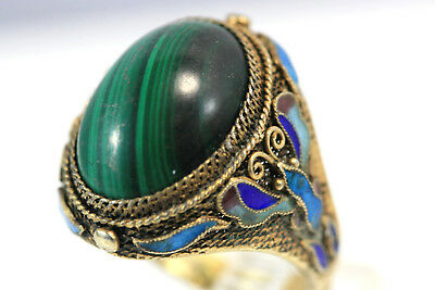 E046 Chinese Gilt Gold Vermeil Filigree Sterling 800 Malachite Ring one size 8g