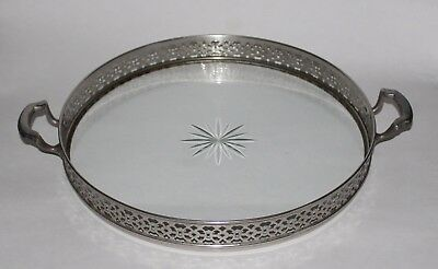 """Antique Vintage Meriden 12"""" Silverplate & Glass Tray with Cut Star"""