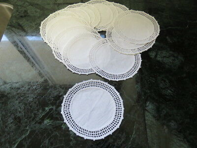 "Lot Of 25 Linen Crochet Doilies -  Cup Coasters - White- 4"" In Diameter"