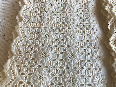 2 pc Antique Eyelet Lace edged fabric 81 x 13 and 84 x 13.5