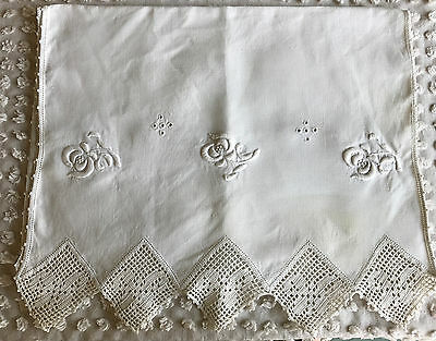 Vintage Runner White Linen and Crochet Embroidered Arts and Crafts 17.5 x 52