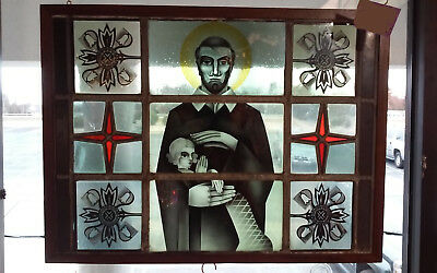 Stained Glass Man/Priest Holding Child from 150 yr old church